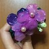紫陽花の髪飾り作り。