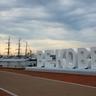 朝のメリケンパーク散歩、海王丸とBE KOBE