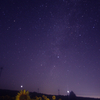 星空とひまわり 福島県 郡山布引 風の高原にて