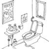 トイレをおしゃれに楽しくする壁紙の使用例(Houzzより)