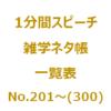 1分間スピーチ|雑学ネタ帳の一覧表(No.201~)です。