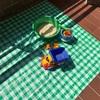 ベランダで自家製「砂」遊び