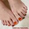 合わせる色をアシメにアレンジ♡人気デザイン♪べっ甲ネイル☆フットジェル