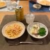 たらこスパゲッティ、ポテトサラダとブロッコリー