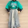 今日の服|春の雨コーデ。自分でカットオフしたChampionの古着スウェットと変形スカートを合わせてみた