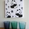インテリアに使えるパンダグッズを作る)てぬぐいを切らないパンダのファブリックパネル