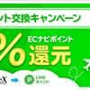 ECナビがpex経由でLINEポイント15%還元キャンペーンを継続しました!ANAマイルをお得にするチャンスか!?