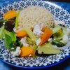 稗と粟の入った玄米ご飯、白だしで作った八宝菜風炒め