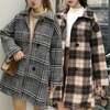 韓国ファッション レディース チェックコート シングルブレスト チェック柄 アウター 長袖