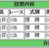 1/22(日)の複勝コロガシの予想。12時時点のオッズで1,200→19,200円