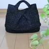黒いアミアン糸でトートバッグを編みました。