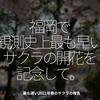 1244食目「福岡で観測史上最も早いサクラの開花を記念して。」最も遅い2021年春のサクラの報告