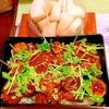 茄子と椎茸のサンバル肉味噌どん