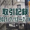 2021/7/12週の米国株オプション取引(確定利益$532、含み損$-5,870)
