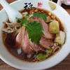 金沢市有松にある麺や福座で、鴨めん+鴨増し+焼きおにぎり。