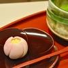 豊洲の「茂助だんご」で上生菓子(桃)、お抹茶。