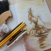完成】色鉛筆でセピア色を目指して塗ってみました☆アートぬりえアリエルより