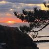 来光、まぶしい朝に撮影チャンス(波浮港から眺める朝日)