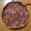 『天然素材で編むかごバッグと帽子』より手提げバッグ 底が完成しました