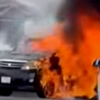 火災映像!久留米市ディスカウントストア「ダイレックス三潴店」駐車場で車両火災