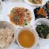 今日10/1(木)の夕飯はチャプチェ、ツルムラサキのごま和え、カボチャの煮物
