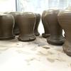 エケベリアの為の陶鉢制作開始:  蕾鉢、碗の水挽き、たたら作り