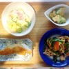 鱈ソテー、枝豆かき揚げ、ハムマカロニサラダ、豚肉炒め
