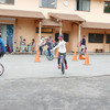 5年生と一輪車. Einratfahren