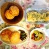 鶏メンチ、酢の物、モロヘイヤ玉子焼き、魚河岸揚げ