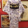 藤色暈しに桜小紋×黒地桜刺繍名古屋帯