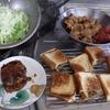 幸運な病のレシピ( 1650 )昼:ハンバーグを作って焼きサンドに入れた、鶏の唐揚げ