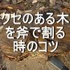 クセのある木を斧で割るコツ 薪割りすると必ず出会う節、枝分かれ、コブのある木を攻略する