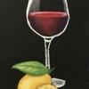 チョークアート*赤ワイングラス