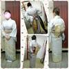 生徒さん!4月の結婚式に自分で着物を着ていくぞーレッスン終了トータル3回でマスターおぉ♪(ノ)'∀`(ヾ)