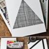 三角形のコラージュが楽しい・古雑誌でノートをカスタマイズ