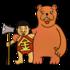 かわいい金太郎とクマ のイラスト