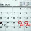 今日、2021年7月19日は【平日】
