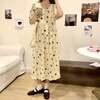 花柄ワンピース 半袖 韓国ファッション レディース ゆったりウエスト ローズプリント