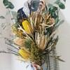 おしゃれなドライフラワーとワイルドフラワー!ひまわりみたい?明るく元気な花束