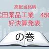 高配当銘柄 武田薬品工業 4502  好決算