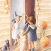 水彩画「Halloween tea party」