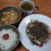 蒟蒻とシーチキンの野菜炒めとキャベツの味噌汁