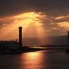 此花大橋から見た圧巻の夕日