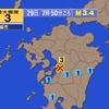 夜だるま地震情報『最大震度3・熊本』