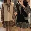 セットアップ ニットベスト + ワンピース チェック柄 韓国ファッション レディース ガーリー