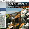 Sci-Fi Mechs and Weapons Pack 2足歩行の軍事ロボット 3Dモデルパック