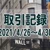 2021/4/26週の米国株オプション取引(確定利益$431、含み損$-13,613)