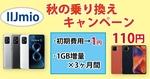 【IIJmio】秋の乗換キャンペーン 初期費用1円&1GB増量&110円スマホ