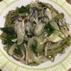 茶そばと牡蠣のペペロンチーノ