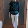 秋の半ばに着たいニットベスト②|懐かしいアーガイル模様を旬のシルエットでレイヤード